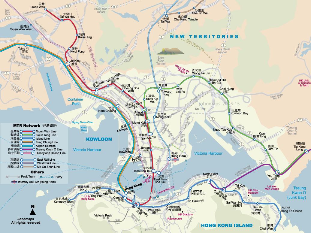 Metro Map Hk.Subway Map Of Hong Kong Johomaps