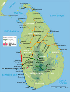 Rail Map of Sri Lanka