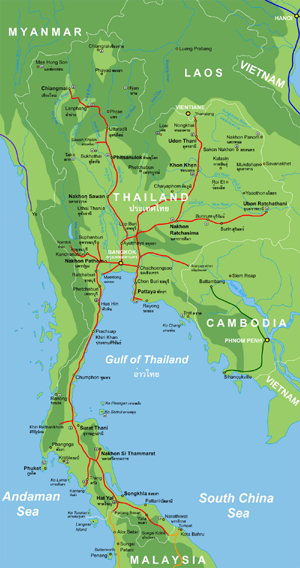 Rail and Topo Map of Thailand