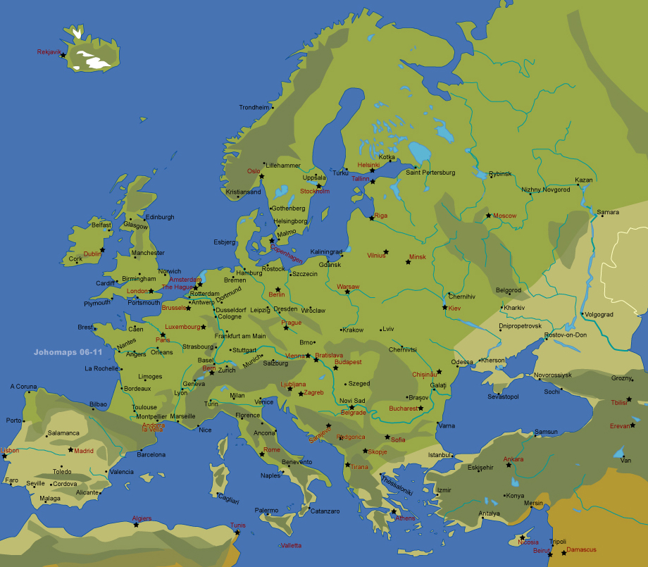 Map Of Europe With Major Cities