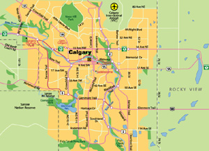 Highway Map of Calgary