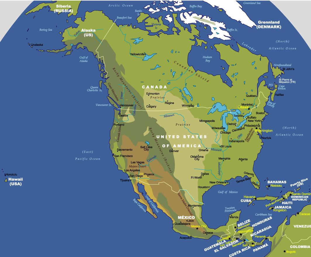 map of north america johomaps