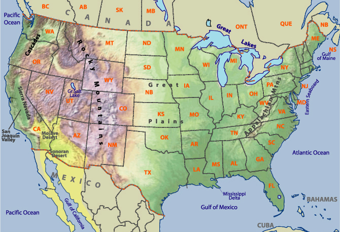 Us Physical Features Map Labeled Globalinterco - Us physical features map labeled